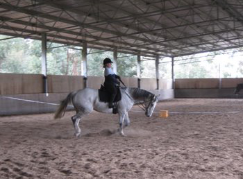 Anne riding BJ at a Clinic